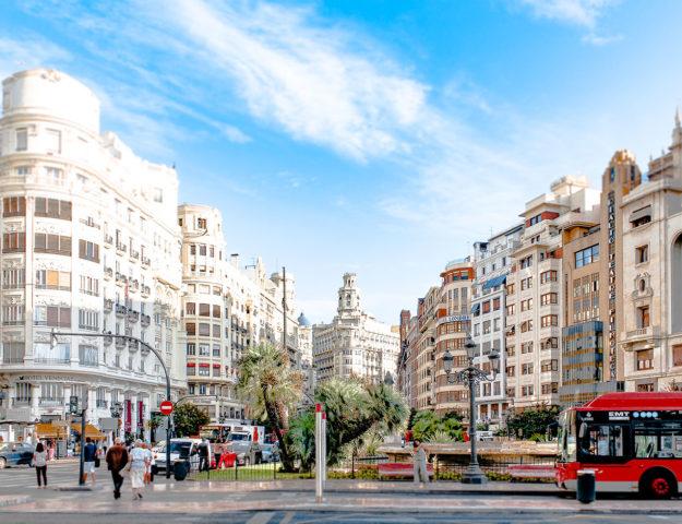 Plaza del Ayuntamiento, Valencia, España.