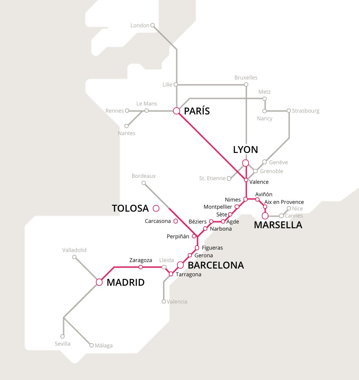 Mapa de trenes entre España y Francia.